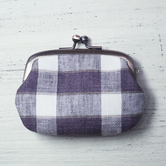 """poussette(プセット) がまぐちバッグ2.9寸  """"Rectangle Check Mulberry -レクタングルチェック マルベリー-"""" [g29090011]"""