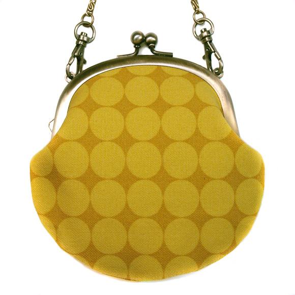 """poussette(プセット)がまぐち 3.3寸""""Large Dot Jaune Miel -ラージドット ジョーンミィル-""""チェーン付き[g33100016k]"""