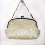 "poussette(プセット) がまぐちバッグ5.5寸 マチ付き ""Flower printed linen -フラワープリンテッドリネン-"" [g55110012]"