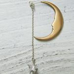 sasakihitomi アクセサリー作家・佐々木ひとみ 月と星のピアス 片耳 シルバー&真鍮  [No-039]