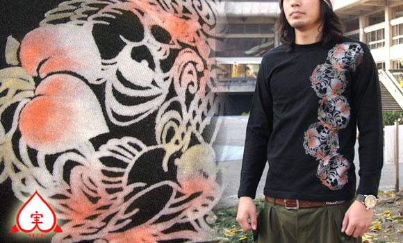 SEED 女性絵師 杉田扶実子 和柄手描きTシャツ 黒色 桃と鳥