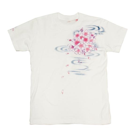 SEED 女性絵師 杉田扶実子 型絵染め&手描き和柄Tシャツ<br>              半袖 白色 桜と流水[SE-TS3A-SK001]