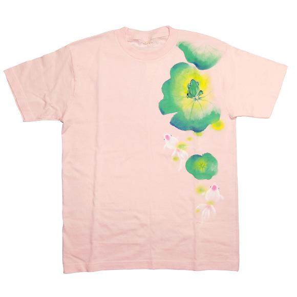 SEED 女性絵師 杉田扶実子 手描和柄Tシャツ 半袖 ピンク 蛙と金魚[SE-TS4B-AN005]