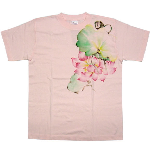 SEED 女性絵師 杉田扶実子 和柄手描きTシャツ 桜色 蓮の花と葉と花床 メンズ・レディース  [SE-TS4B-KH001]