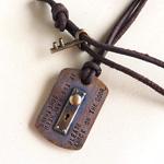 small right(スモールライト) 手作りアクセサリー ドアノブ タグネックレス 銅&真鍮 革ひも [SR-NL-05]