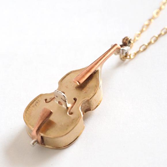 small right(スモールライト) 手作りアクセサリー 奏者のためのコントラバス ネックレス 真鍮 [SR-NL-13]