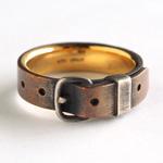 small right(スモールライト) 手作りアクセサリー ベルトリング 銅×ゴールド 真鍮 5mm幅 [SR-RG-02]