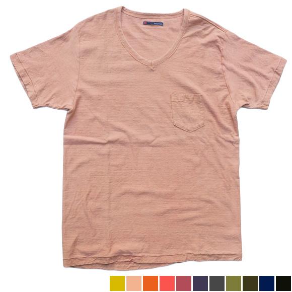 手染メ屋 天然染め オーガニックフライス パッチTシャツ 半袖[OL-03]