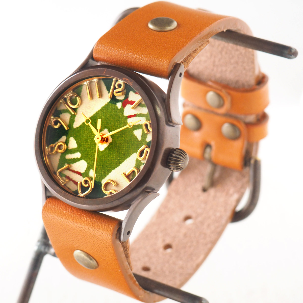 "vie(ヴィー) 手作り腕時計 ""和tch"" 和紙文字盤 和時計 菱緑 グリーン Mサイズ [MJ-004M-GR]"