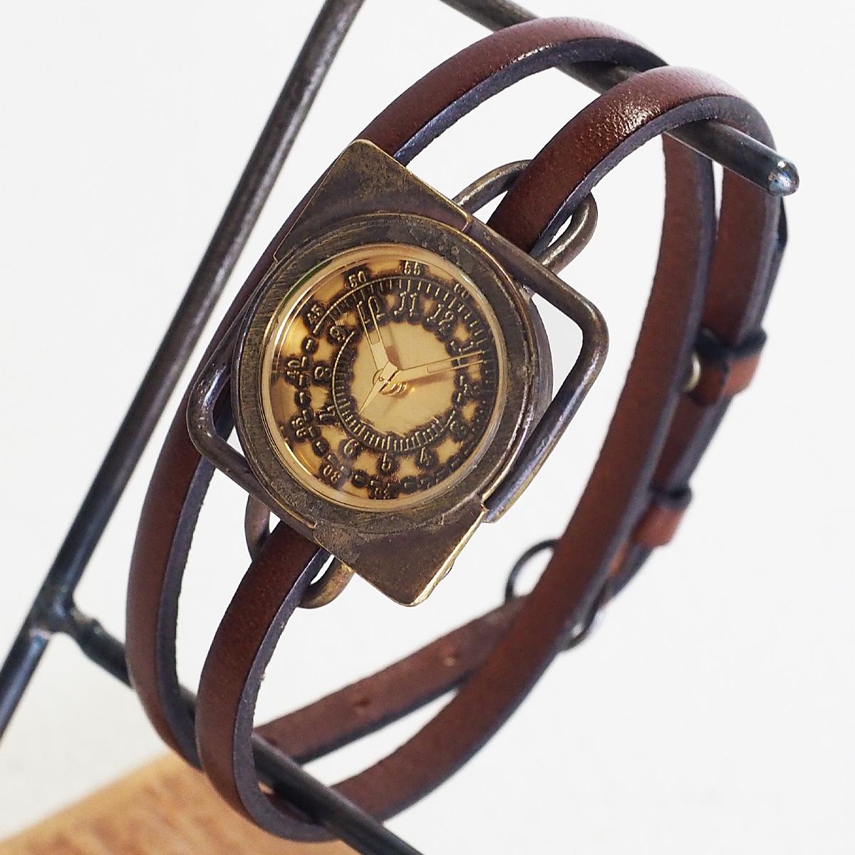 "vie(ヴィー) 手作り腕時計 ""square antique -スクエア アンティーク-"" 2重ベルト レディース [WB-031-W-BELT]"