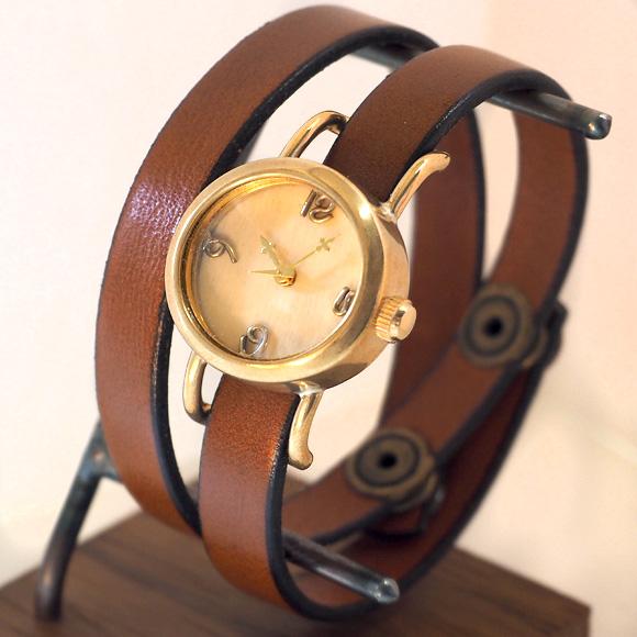 """【文字盤の木製パーツが選べます】 vie(ヴィー) 手作り腕時計 """"collon wood  -コロン ウッド-"""" 2重ベルト レディース [WB-051-W-BELT]"""