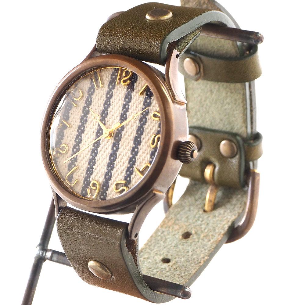 "vie(ヴィー) 手作り腕時計 ""DENIM STRIPE -デニムストライプ-"" Lサイズ [WB-062L]"