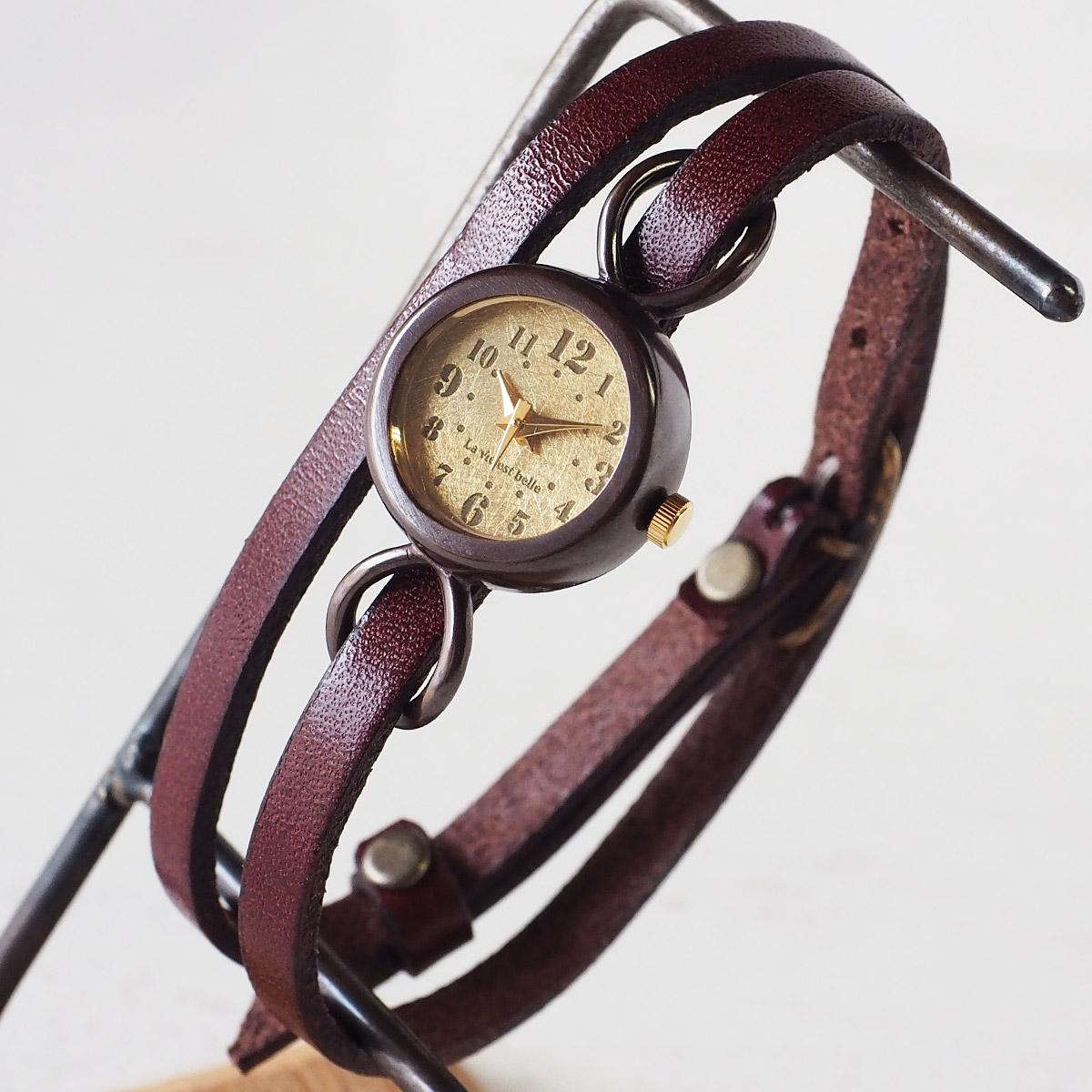 """vie(ヴィー) 手作り腕時計 """"collon brass -コロン ブレス-"""" 2重ベルト レディース [WB-066-W-BELT]"""