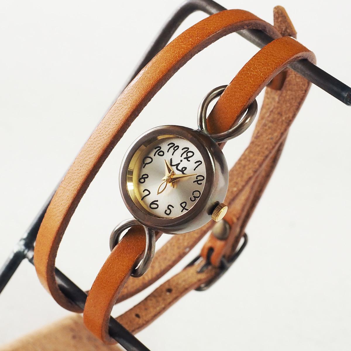 """vie(ヴィー) 手作り腕時計 """"cheerfully -チアフリー-"""" 2重ベルト レディース [WB-067-W-BELT]"""