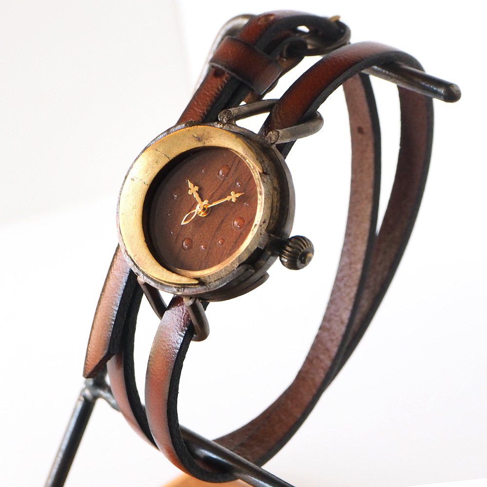 "vie(ヴィー) 手作り腕時計 ""三日月"" 2重ベルト レディース [WB-074-W-BELT]"