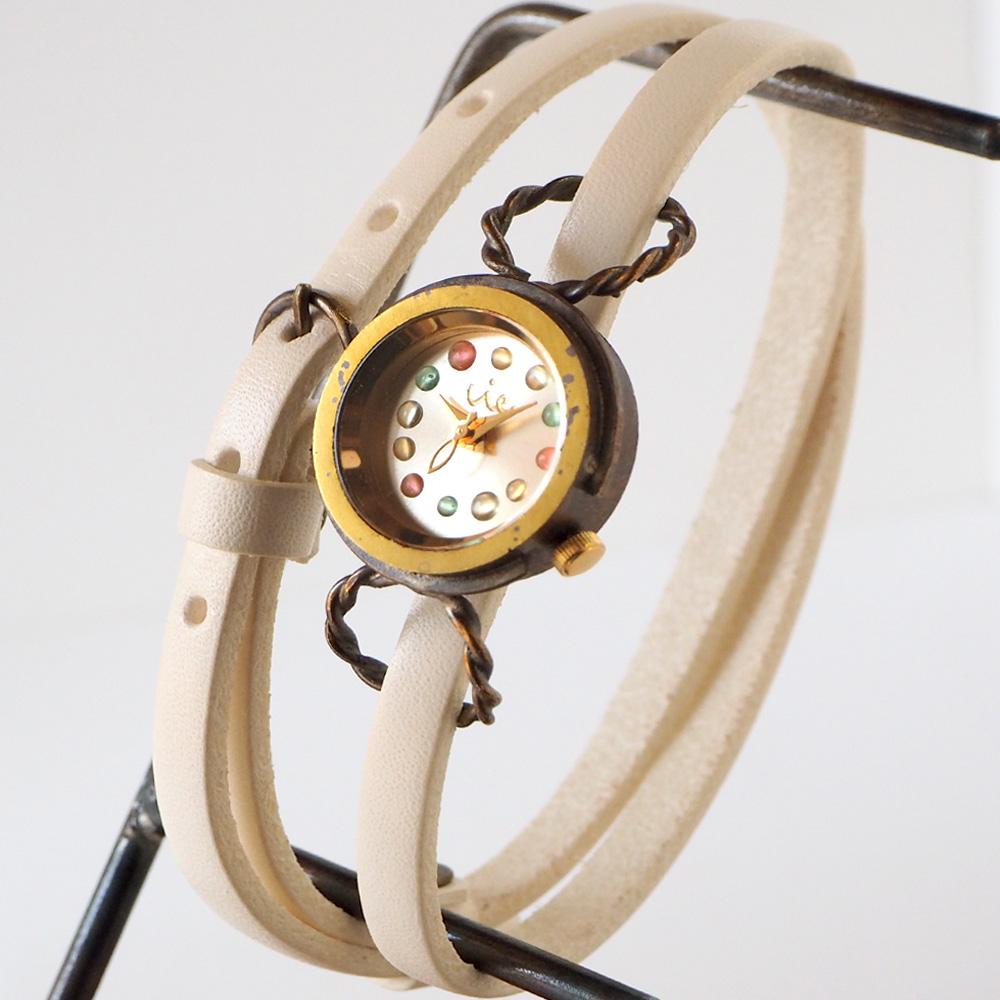 """vie(ヴィー) 手作り腕時計 """"パステル ドロップ"""" 2重ベルト レディース [WB-074-W-BELT]"""