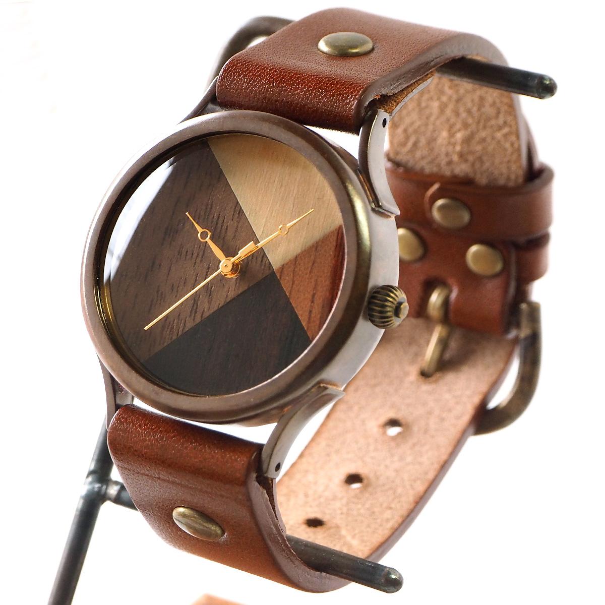 "vie(ヴィー) 手作り腕時計 ""simple wood 寄せ木文字盤"" Lサイズ [WB-077L]"