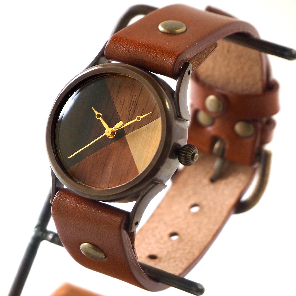 "vie(ヴィー) 手作り腕時計 ""simple wood 寄せ木文字盤"" Mサイズ [WB-077M]"