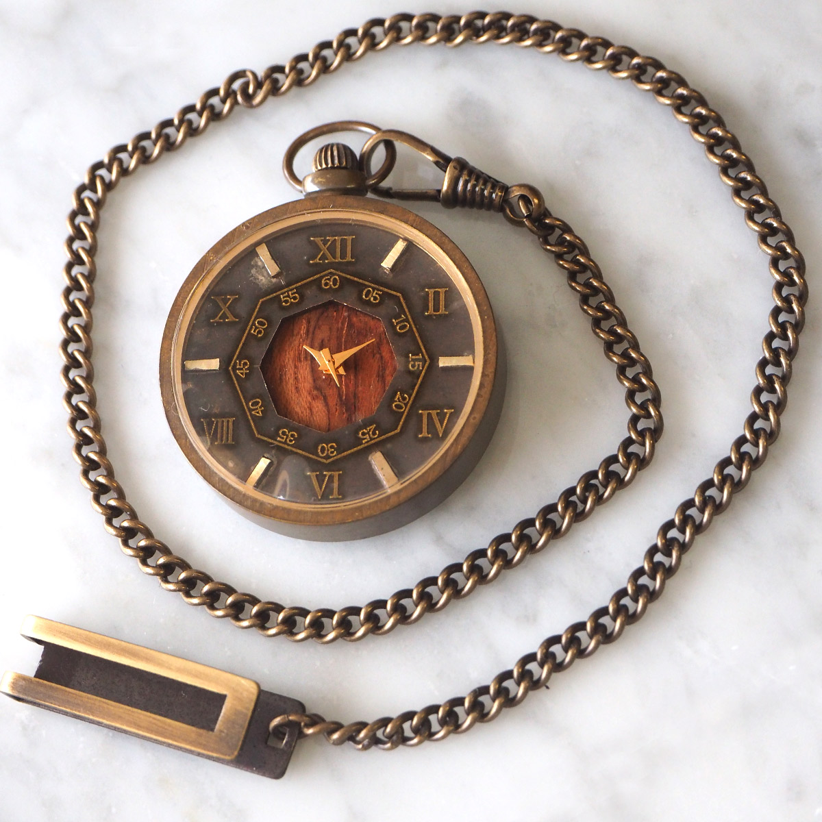 "vie(ヴィー) 手作り懐中時計 ""antique wood -アンティークウッド-"""