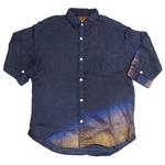 YoriTo(ヨリート) フレンチリネン七分袖シャツ 切れ箔 ブラック [Y7S0001-03-BK]
