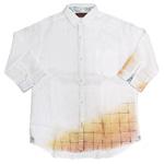 YoriTo(ヨリート) フレンチリネン七分袖シャツ 切れ箔 ホワイト [Y7S0001-03-WH]