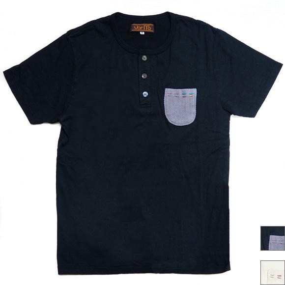 yorito ヘンリーネック 刺子×ハンドステッチ ポケットTシャツ  [THNT0001]