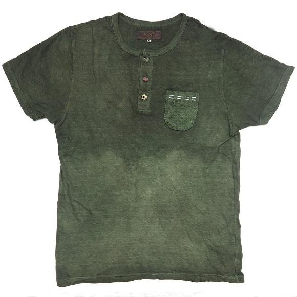 yorito 刺子×ハンドステッチ ポケットTシャツ お茶染め [THNT0002-01]