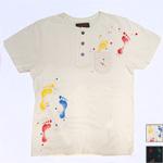 YoriTo(ヨリート)ヘンリーネック 刺子×ハンドステッチ ポケットTシャツ 足跡 [THNT0003]