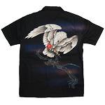 禅(ZEN) 手描き刺繍和柄シャツ 半袖 華喰白鷹 ブラック