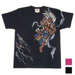 """【2色から選べます!】 禅(ZEN) 手描き和柄Tシャツ 半袖 """"鬼神""""ブラック・ワインレッド [KTH0016]"""