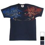 """【3色から選べます!】 禅(ZEN) 手描き和柄Tシャツ 半袖 """"阿吽の双龍""""[KTH0022]"""