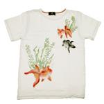 禅(ZEN) 手描き和柄Tシャツ 半袖 白 金魚 [KTKB0008-WH]