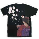 禅(ZEN) 手描き刺繍和柄Tシャツ 半袖 親父と京舞妓 ブラック・ホワイト [KTL0001]