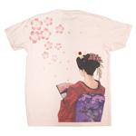 禅(ZEN) 手描き刺繍和柄Tシャツ 半袖 親父と京舞妓 ピンク [KTL0001-PK]