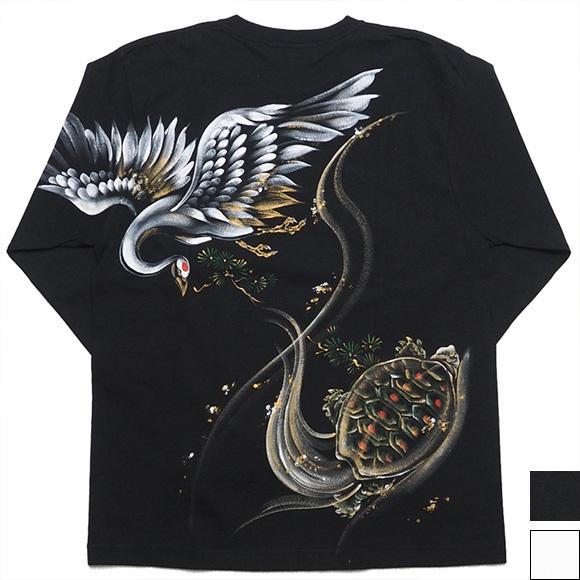 """【2色から選べます!】禅(ZEN) 手描き和柄Tシャツ 長袖 """"鶴亀"""" [KTLH0012]"""
