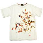 """禅(ZEN) 手染め和柄Tシャツ 半袖 白""""槍梅""""[KTM0002-WH]"""