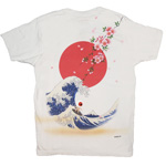 禅(ZEN) 手描き刺繍和柄Tシャツ 半袖  波乗親父