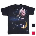 """禅(ZEN) 手描き刺繍和柄Tシャツ 半袖""""星に願いを"""" ブラック・ホワイト・レッド [KTMG032]"""